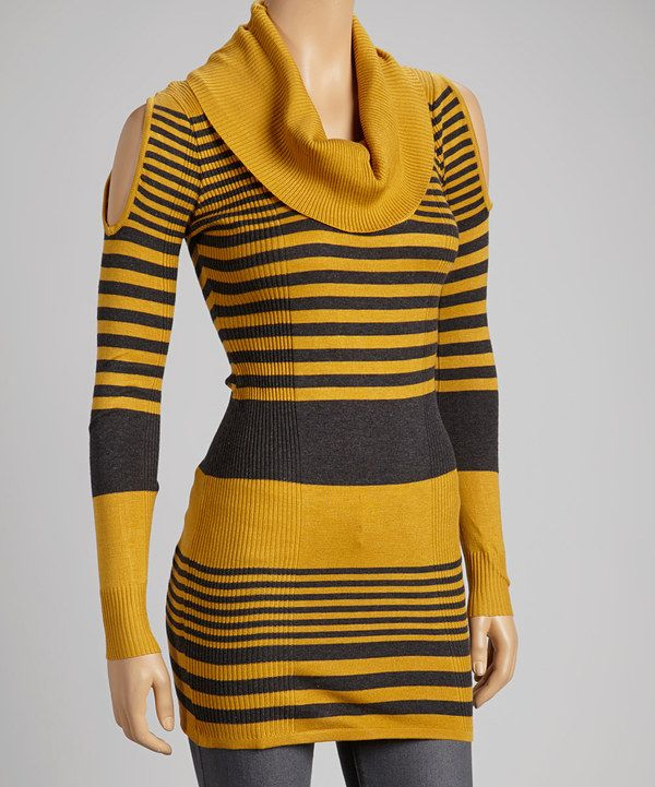 Mustard & Charcoal Stripe Cowl-Neck Sweater | Stripes, Cowls and ...