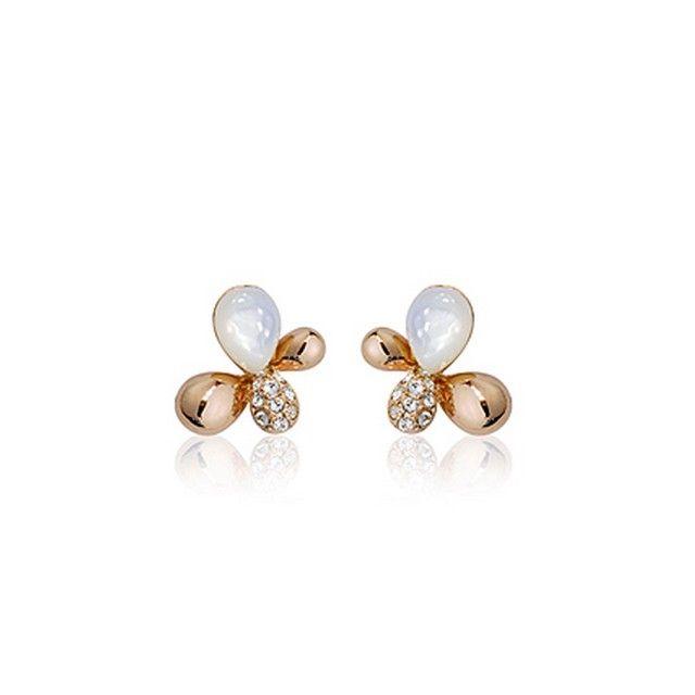Ladies Estilo cristalino de los pendientes de oro de la mariposa ópalo chapado