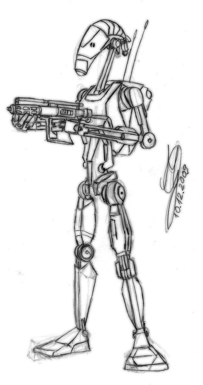 Star Wars Battle Droid Coloring Pages Star Wars Clone Wars Star Wars Battle Droids Star Wars Droids