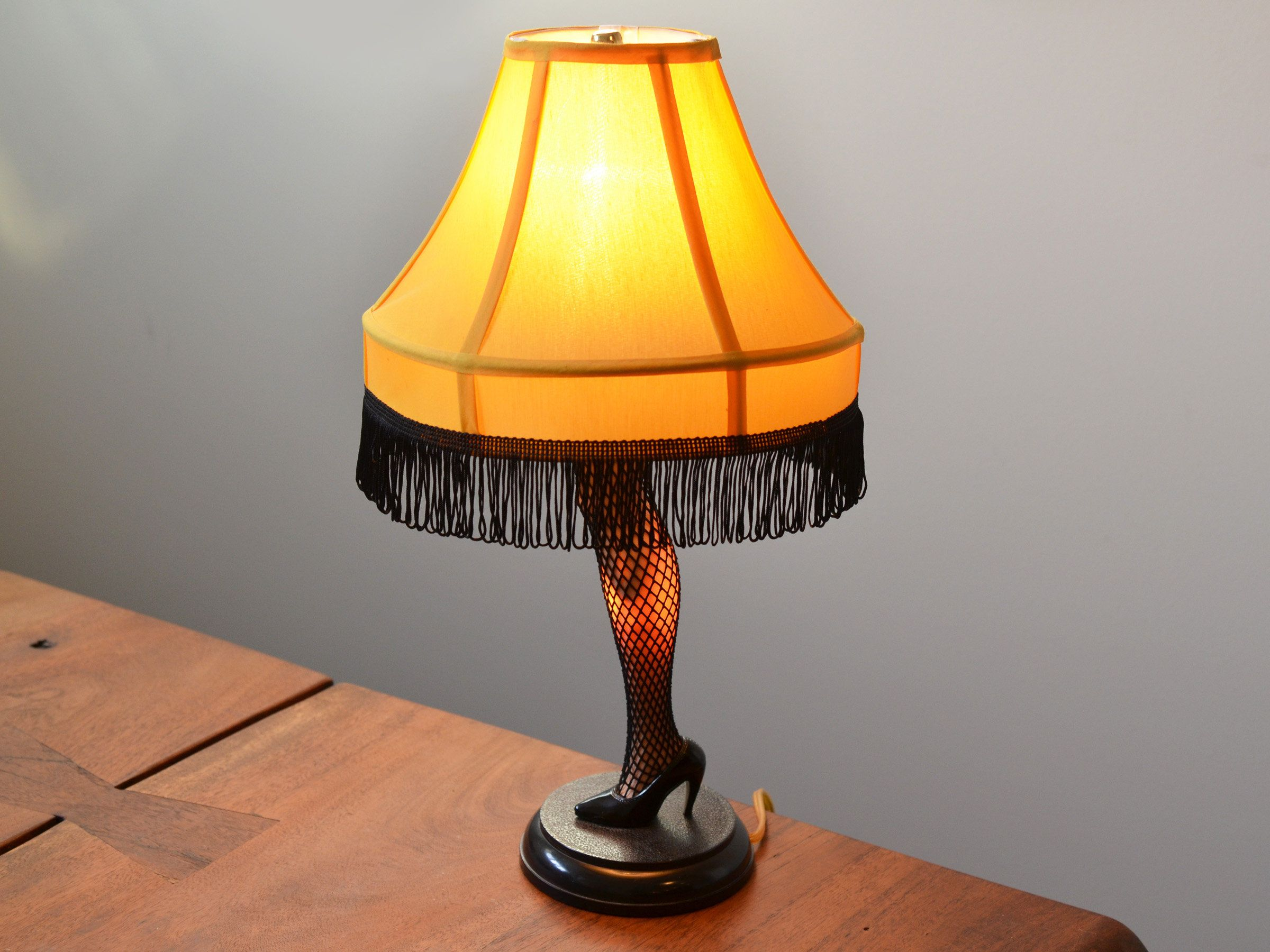 Vintage Leg Lamp 19 A Christmas Story Reproduction With Black Tasseled Yellow Lamp Shade Mid Century Kitsch By Trashtiques On Leg Lamp Lamp Floor Lamp Grey