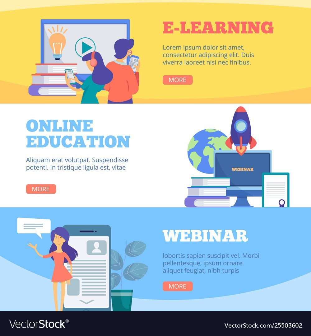 Online Education Banners Webinar Web School Vector Image Spon Banners Webinar Online Educatio Education Banner Online Education Business Infographic