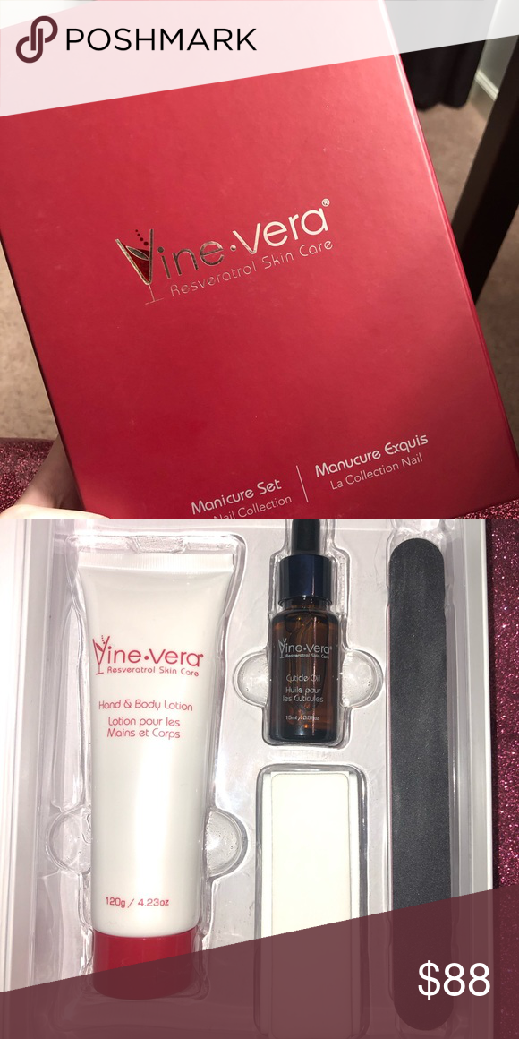 Vine Vera Manicure Set Brand New Vine Vera Resveratrol Skin Care Manicure Set Includes A Buffer Nail Cuticle Oil A Filer Manicure Set Manicure Hand Lotion
