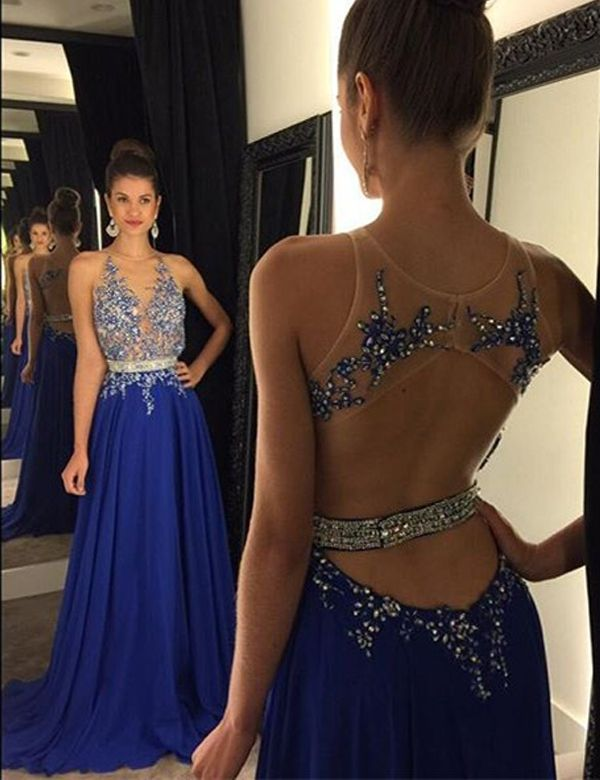 Long royal blue evening dresses