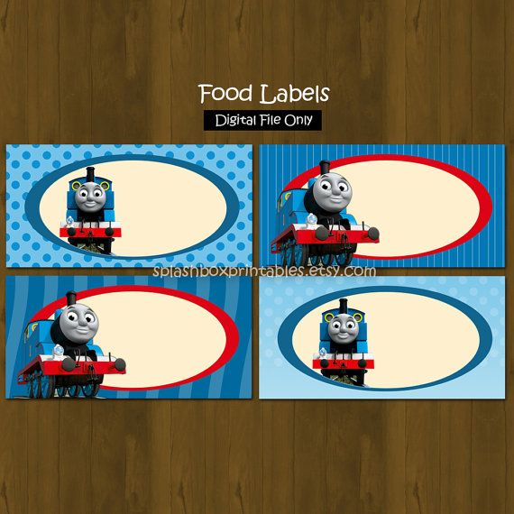 Thomas the Train Birthday Party Printable Food Labels or Place Cards - INSTANT DOWNLOAD