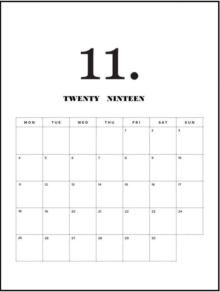 Modern Minimal 2019 Monthly Calendar Kalendar Sistema Bystryh