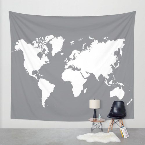 world map wall tapestry gray and cream modern map by aldarihome