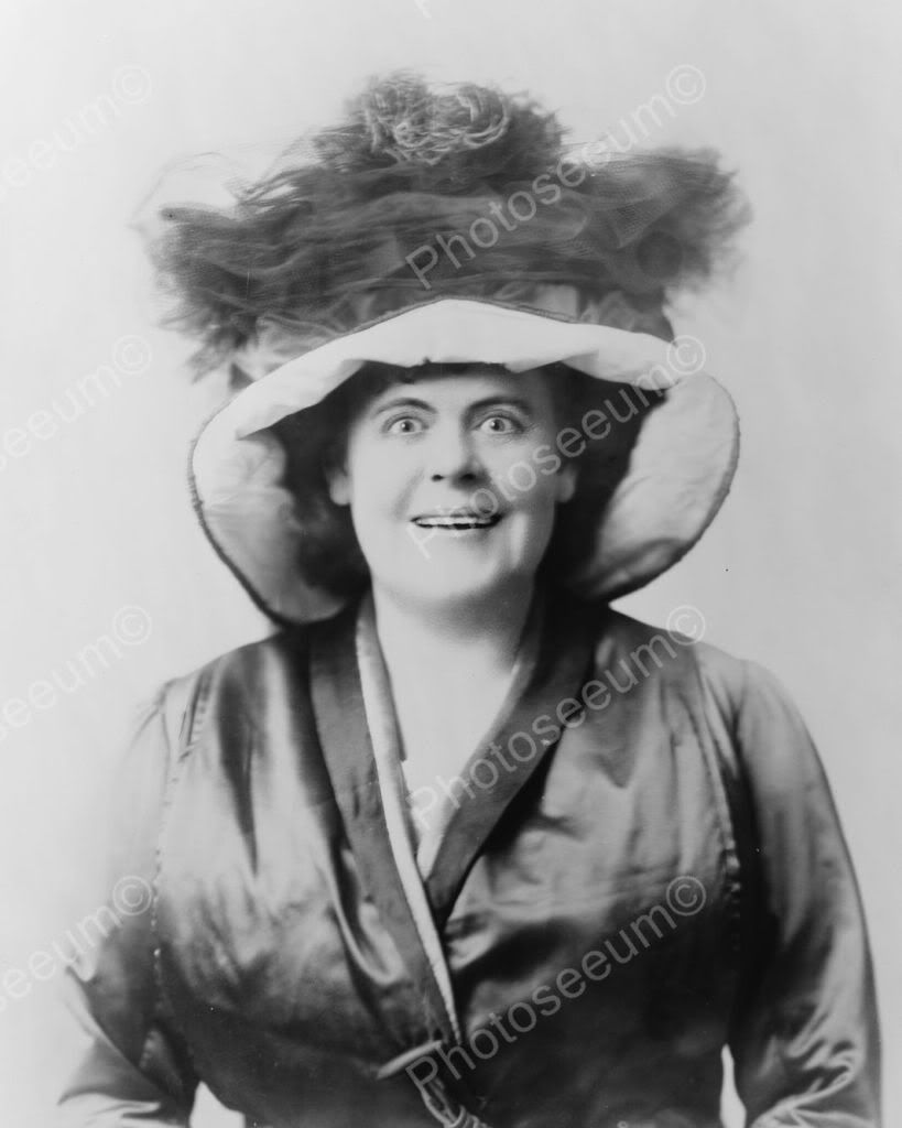 Surprised Lady In Victorian Hat 1800s 8x10 Reprint Of Old Photo