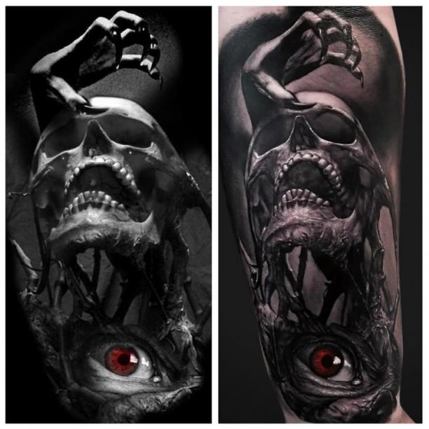 Tattoo Rotes Auge Skull Hand Tattoo Ideen Tattoo Ideen
