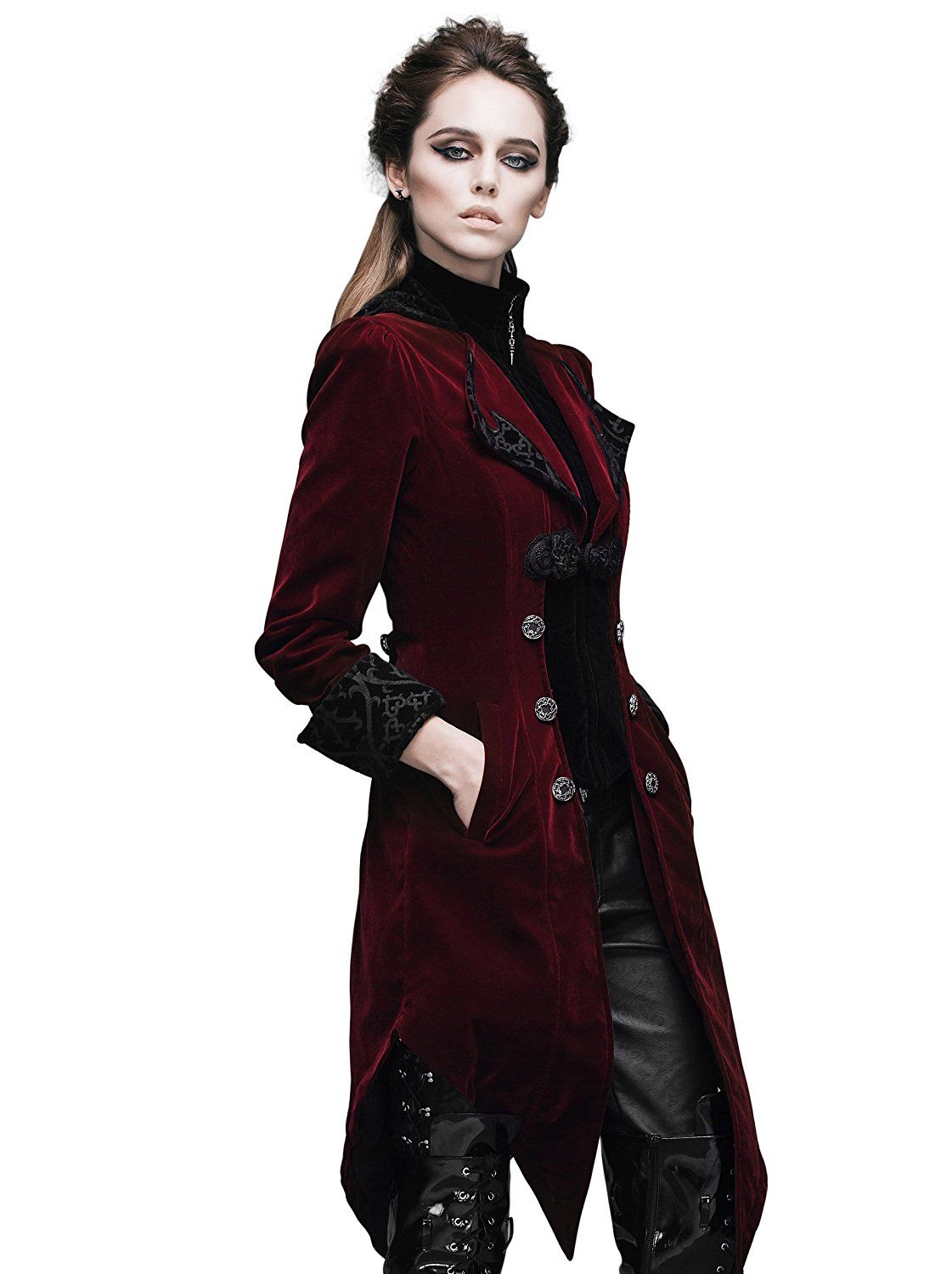 dc1cae4c86a Deluxe Adult Costumes - Women s burgandy poly-velvet swallowtail pirate  captain coat