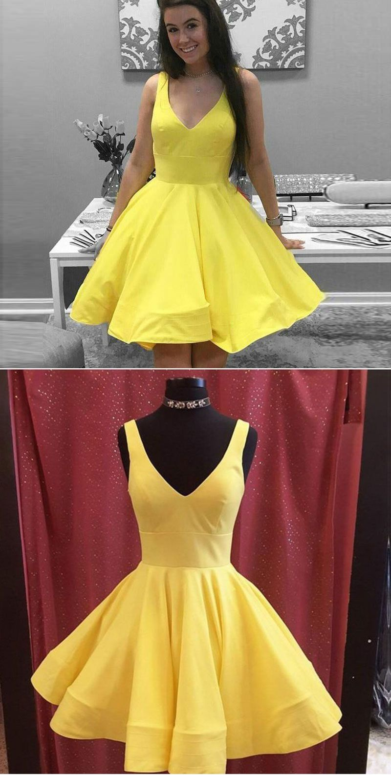 Yellow v neck short prom dress homecoming dresses simple gowns
