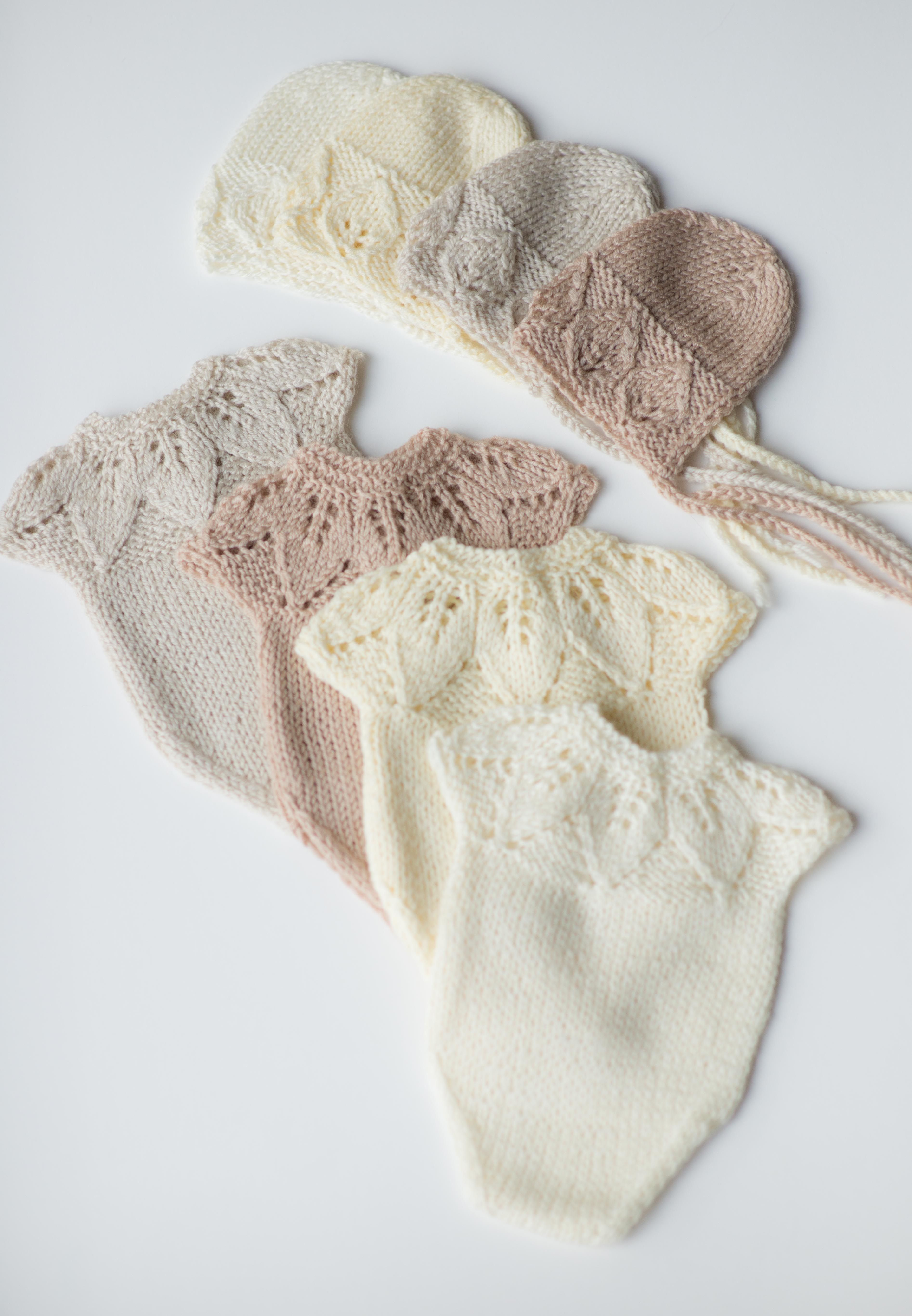 Newborn prop girl ivory romper bonnet set knit photo prop outfit