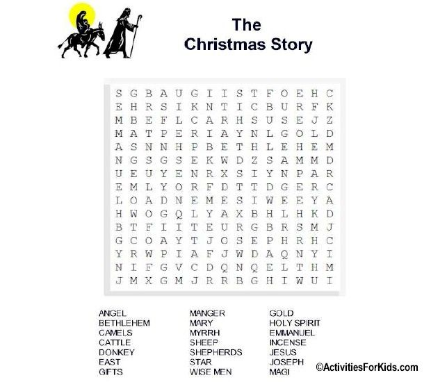 Sunday School Christmas Party Games: Christmas Story Word Search Printable For Kids