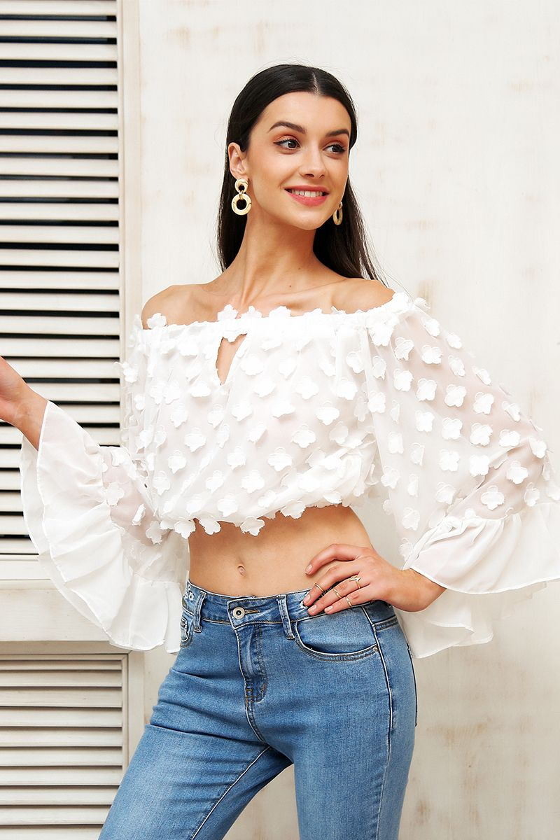 67935414ec4 White Flare Sleeve Off Shoulder Hollow Out Chiffon Blouse Top | All ...