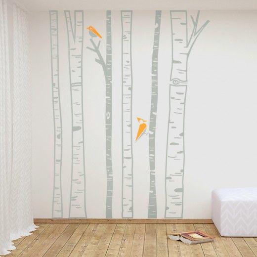 BIRCEHS - wallsticker with stylised birches and birds.