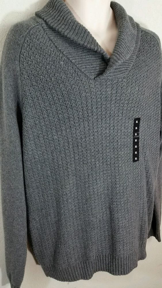 Marc Anthony Shawl Collar Sweater Gray Cotton Wool Blend Soft XL ...