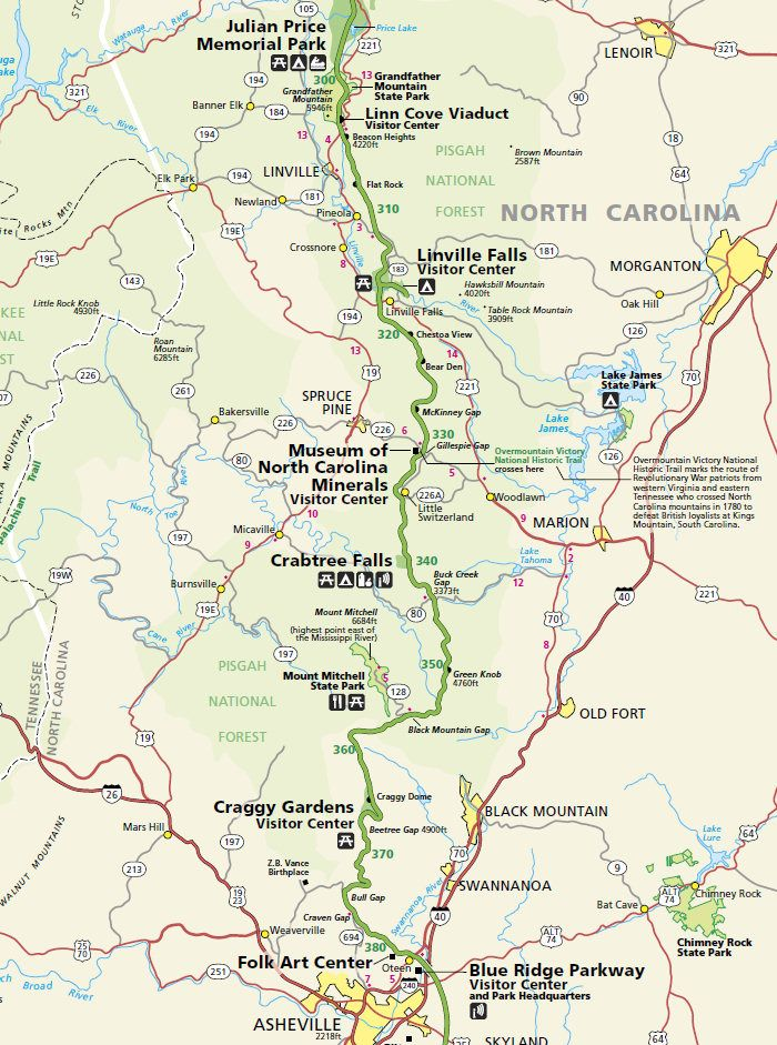 Blue Ridge Parkway Map Asheville Blue Ridge Parkway North