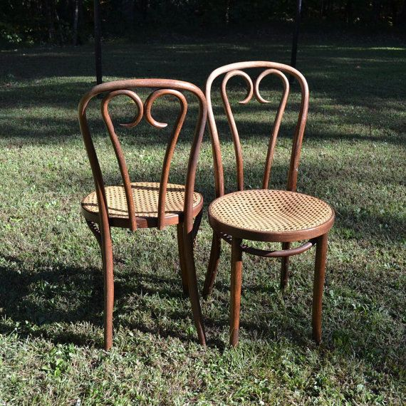 Vintage Thonet Style Bentwood Bistro Chairs Cane Seat Original Set