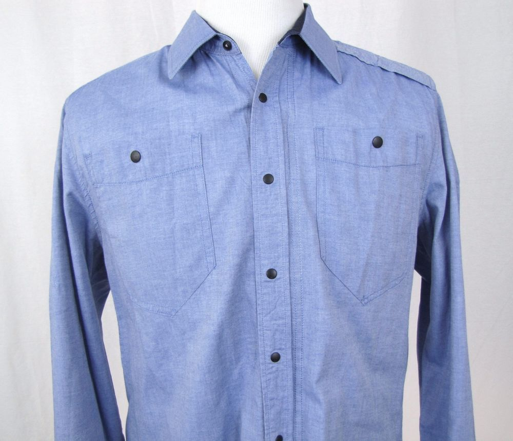 G Star Raw Shirt XL Correct Line 3D Western Snap Button Full Zipper Blue Cotton #GStar #ButtonFront