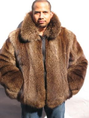 fad5321adaa MENS REVERSIBLE RACCOON LEATHER BOMBER FUR JACKET FURS size38
