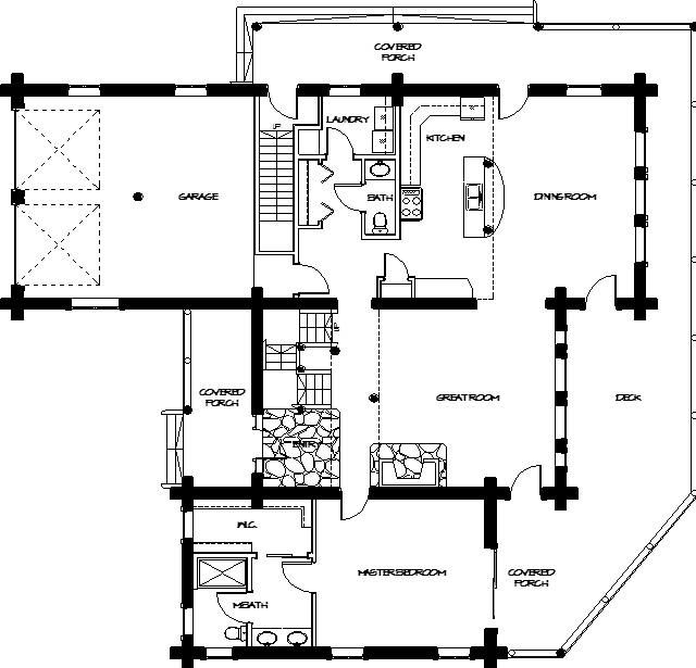 Small Log House Floor Plans | Montana Log Homes Floor Plan #45 Main ...