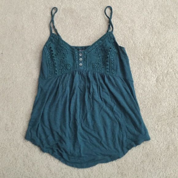 AEO Crochet Tank Adorable tank from AEO with crotchet bust. Relaxed fit, so would likely fit someone that wears small or medium. American Eagle Outfitters Tops Tank Tops