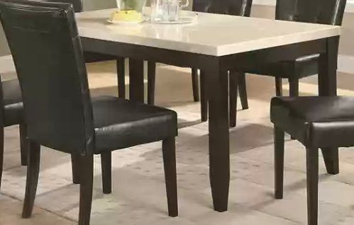 Dining Table With Cream Marble Top In Dark Cappuccino Finish By Coaster Home Furnishings Http Www A Marble Top Dining Table Dining Table Casual Dining Table