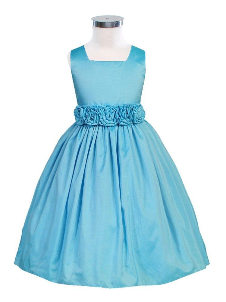8badc576f09 Turquoise Sleeveless Taffeta Flower Girl Dress (Sizes Infants-12 in 13  Colors)