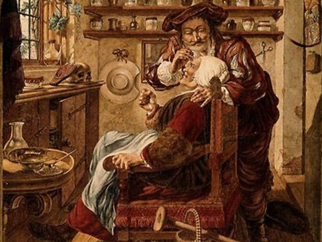 A Barber Surgeon Extracting Stones From Womans Head