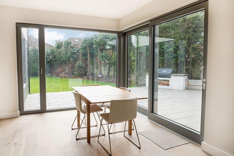 Alu Clad Corner Window With Sliding Door Contemporary Windows Contemporary House Exterior Sliding Patio Doors
