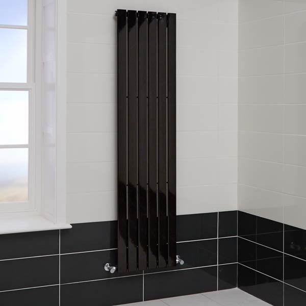 Vega Beta Heat 1800 X 450 Black Heated Radiator   Black And White Bathroom  Ideas