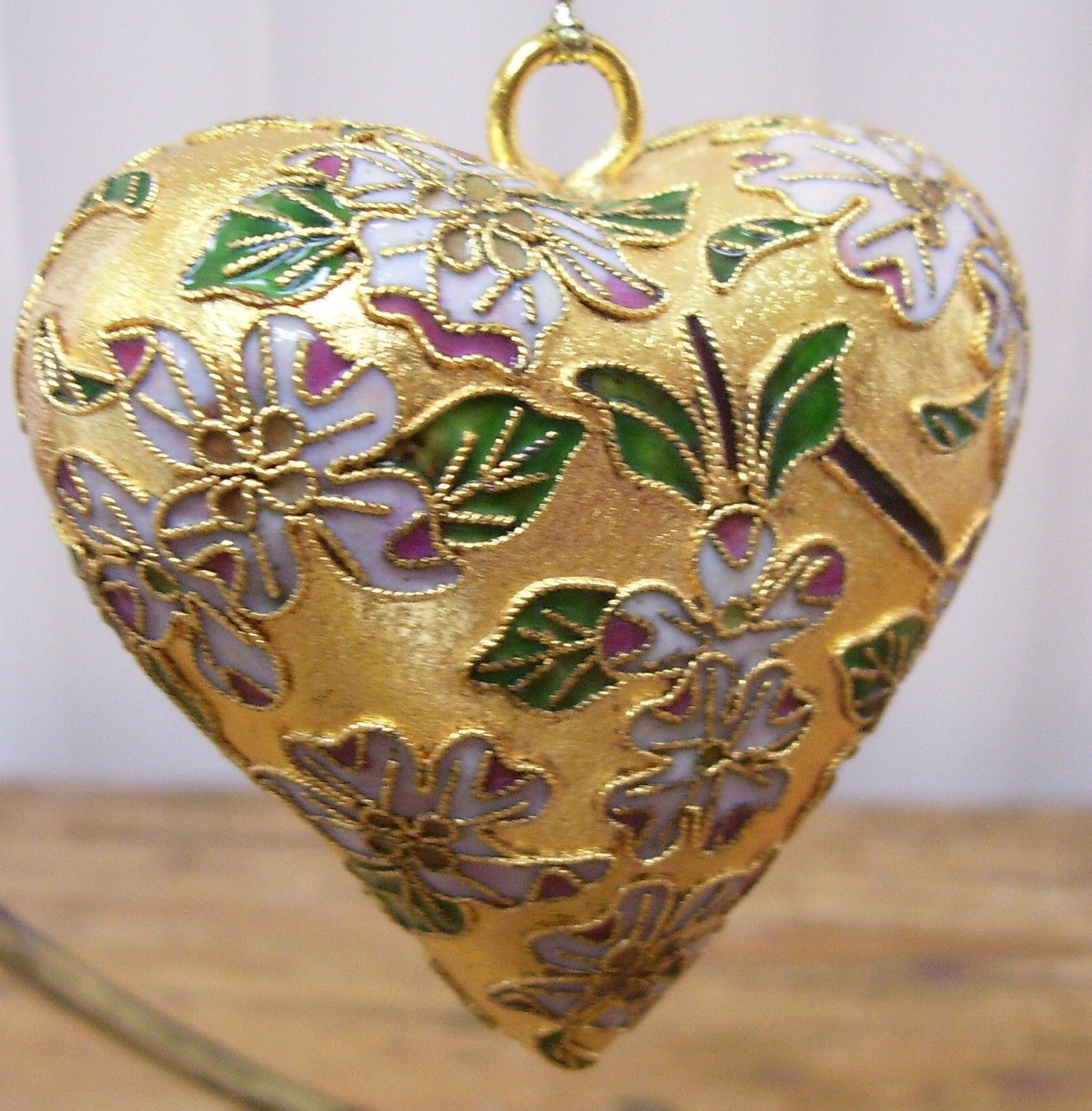 Gold Metal Heart Flowers Floral Christmas Ornament For Sale $1999