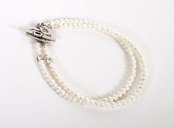 Pearl Wedding Bracelet double strand by HarpersVintage on Etsy, $20.00