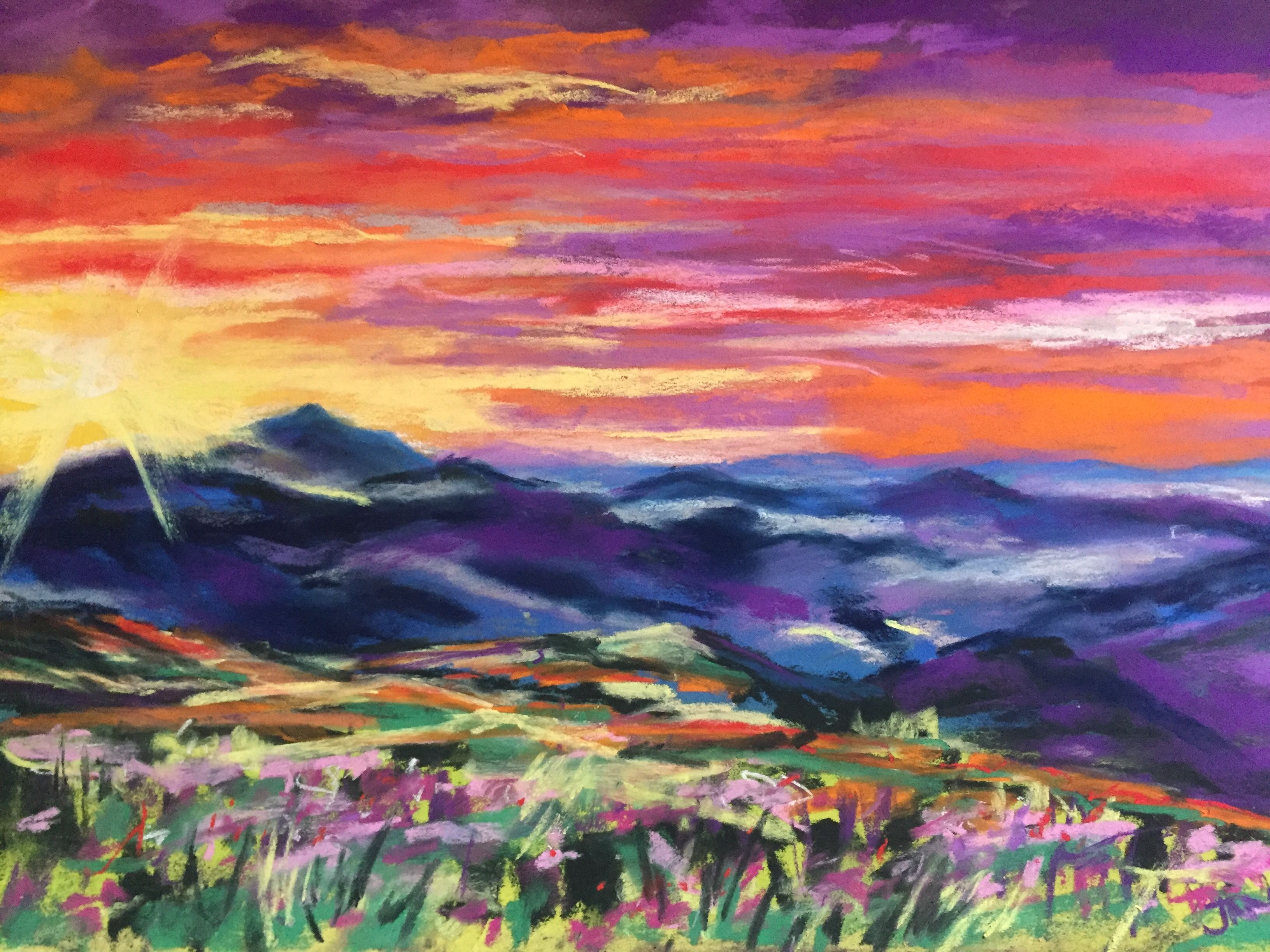 Vivid Pastel Painting Of The Smoky Mountains Colors Include Pink Red Purple Blue Yellow And Gold Original 9 X 12 Inch Pa Pastel Painting Pastel Art Painting