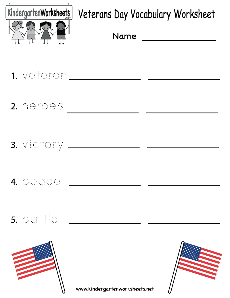 Kindergarten Veterans Day Vocabulary Worksheet Printable | Veterans ...