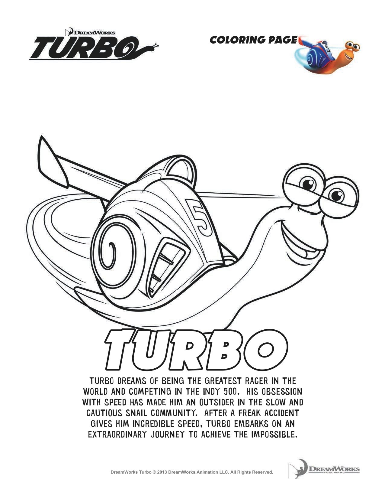 Turbo Coloring Pages and Activity Worksheets!