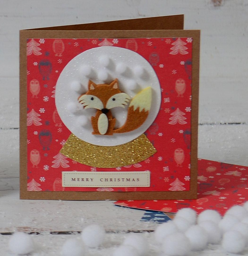 How to Make a Christmas Snow Globe Card #christmas #card #cardmaking #papercraft #snow #globe #fox #reindeer #diy #handmade