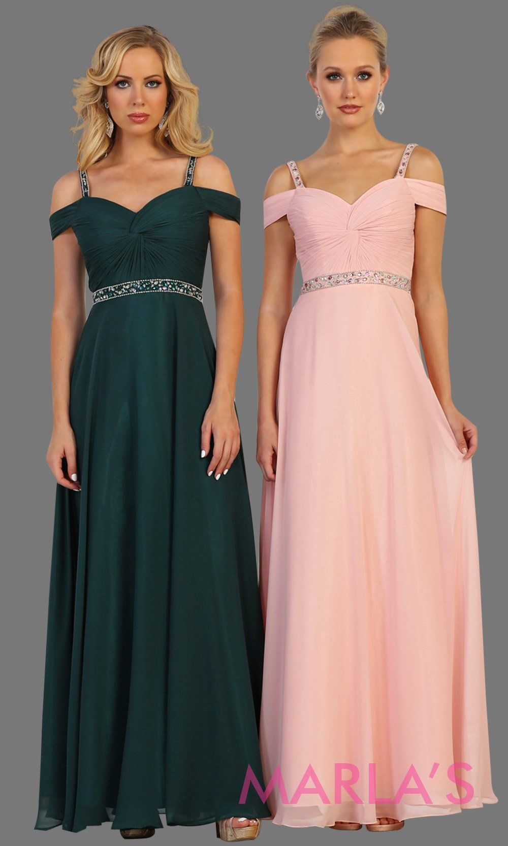 b661a1b71f3 Long dark green flowy dress with cold shoulder and beaded waist. Perfect  for prom