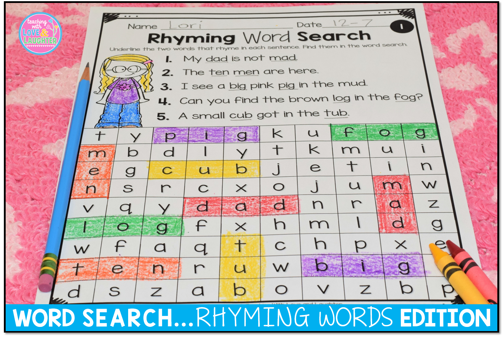 Word Searches Rhyming Words Distance Learning Packet