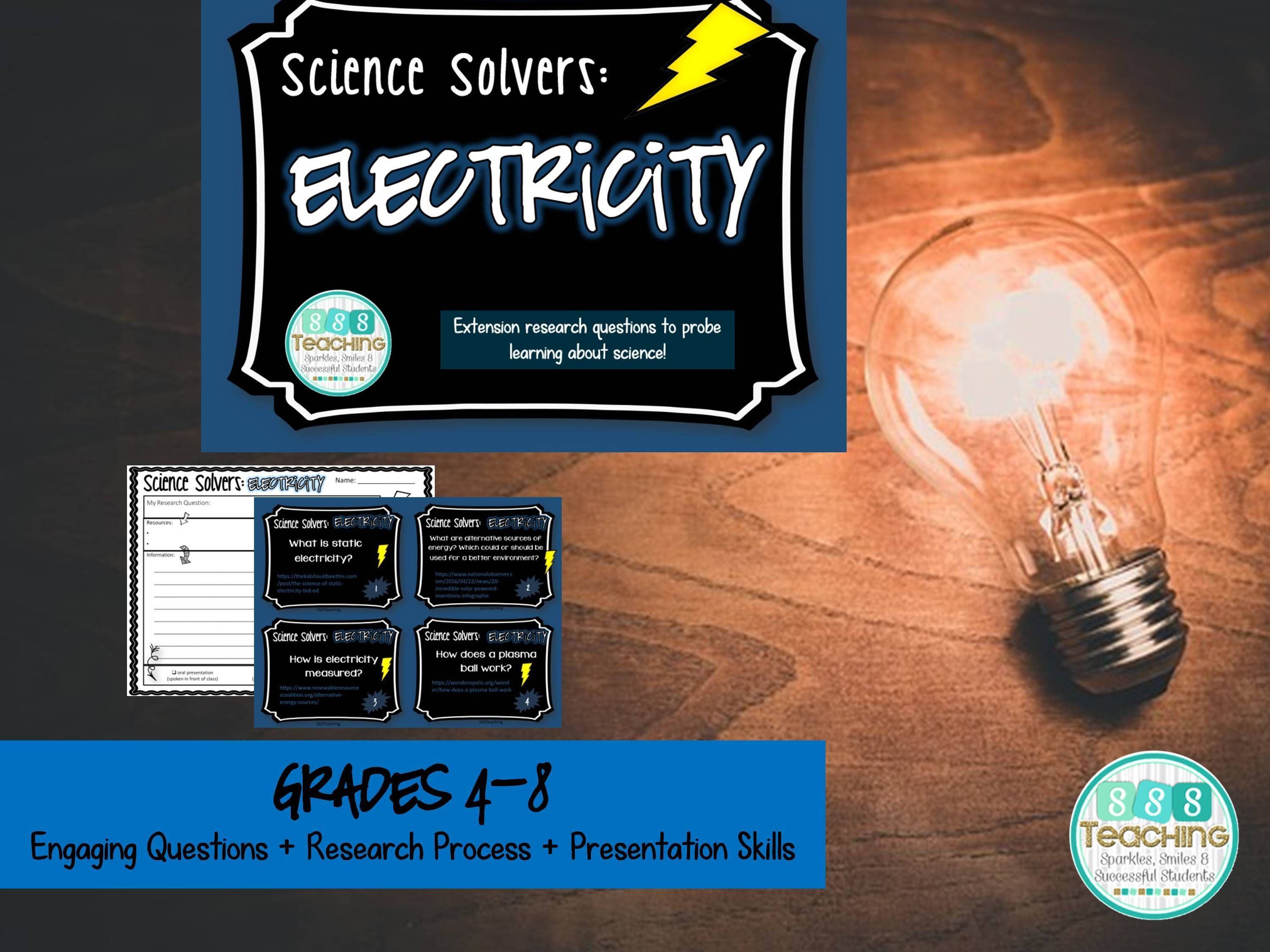 Science Solvers Electricity Research Cards