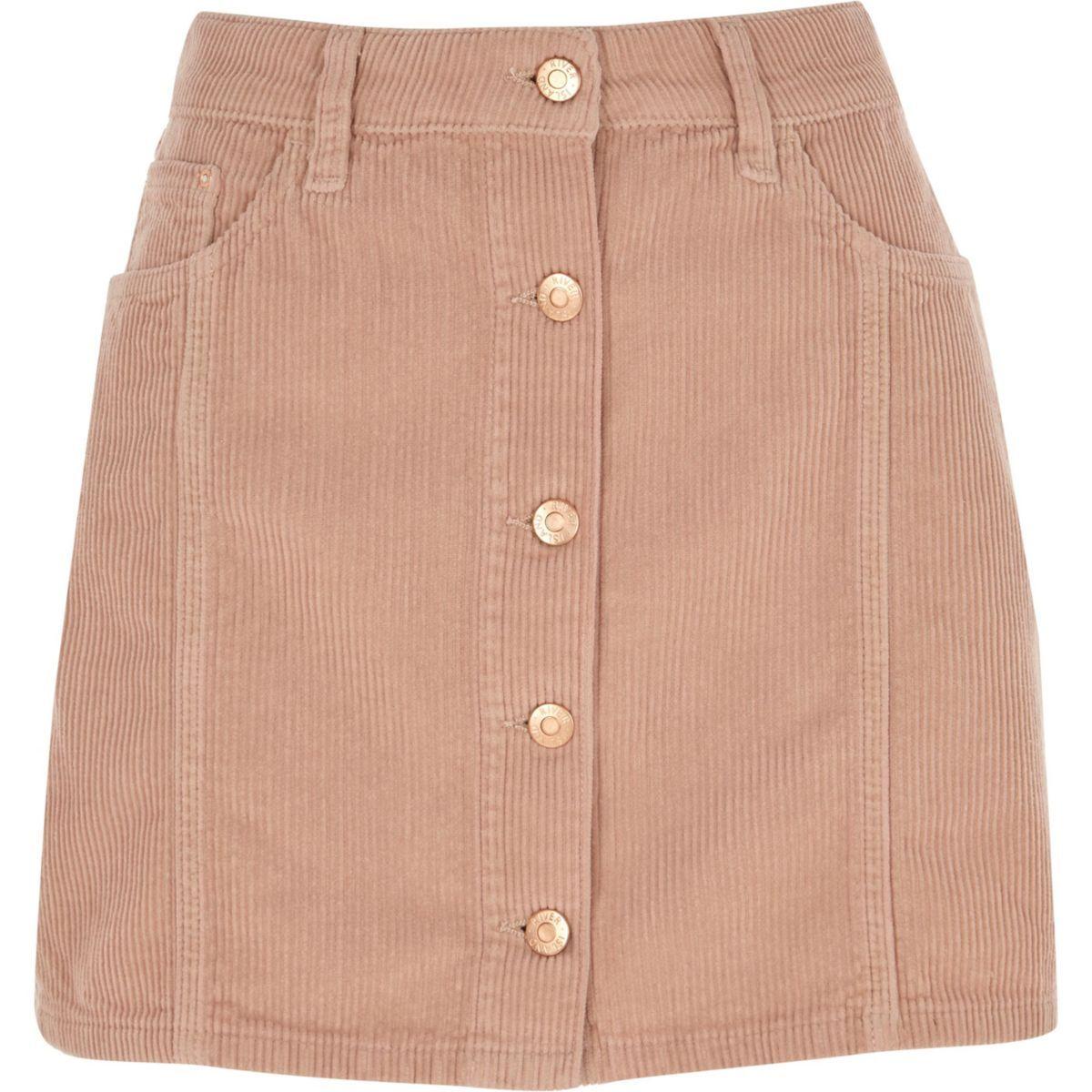 1a1d100d4 Pink corduroy button through mini skirt - Mini Skirts - Skirts - women