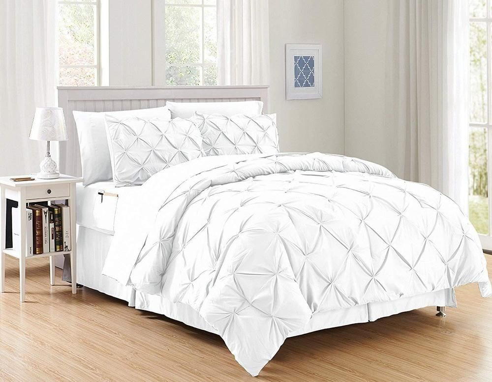 948eaa0c3591f Discover ideas about Ruffle Comforter. January 2019. WPM 7 Piece Royal  WHITE Ruched comforter set Elegant bed ...