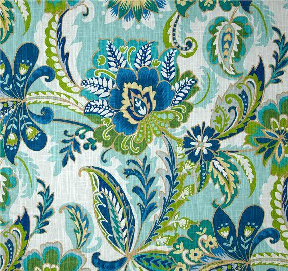 Blue Green Curtain Panels Modern Floral Drapes Fabric Decor