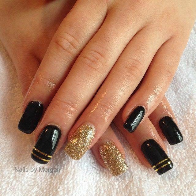 Gold Striping On Black By Sandersm7 Via Nailartgallery