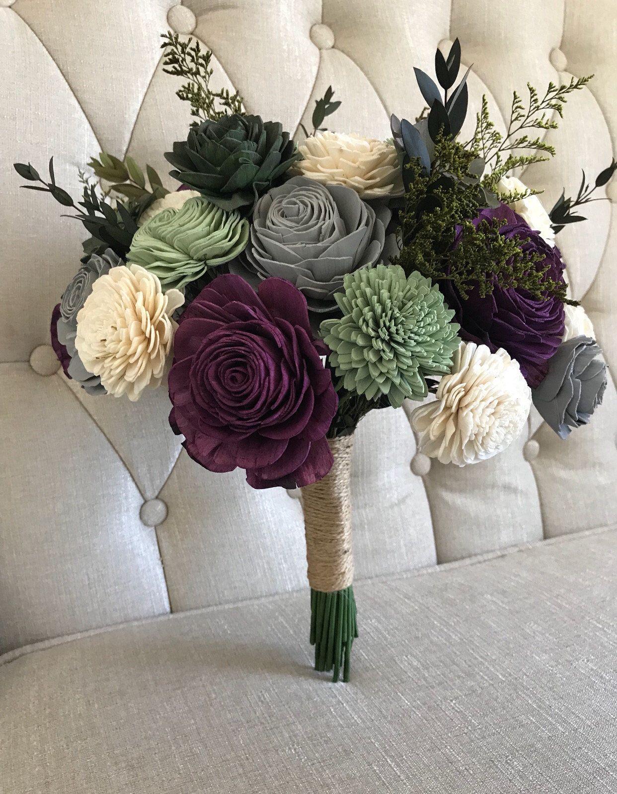 Rich Garden Succulent Bouquet Wooden Flowers Purple