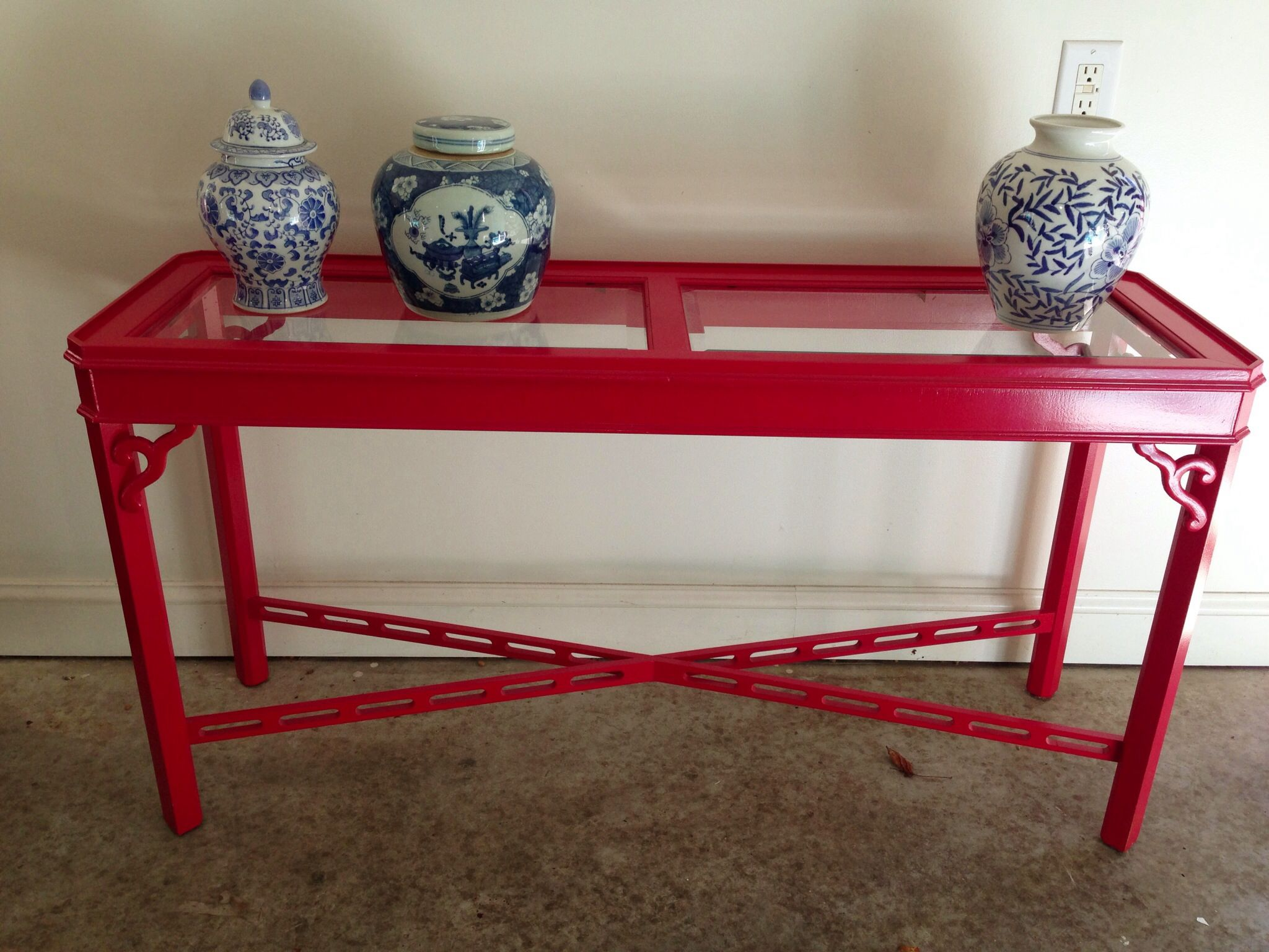 Red High Gloss Painted Sofa Console Table Painted Sofa High