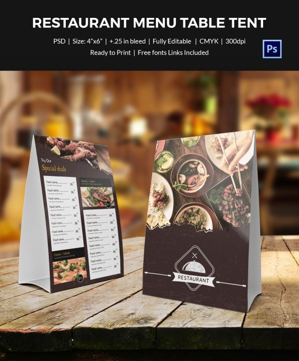 food new menu table tent template campaign materials pinterest