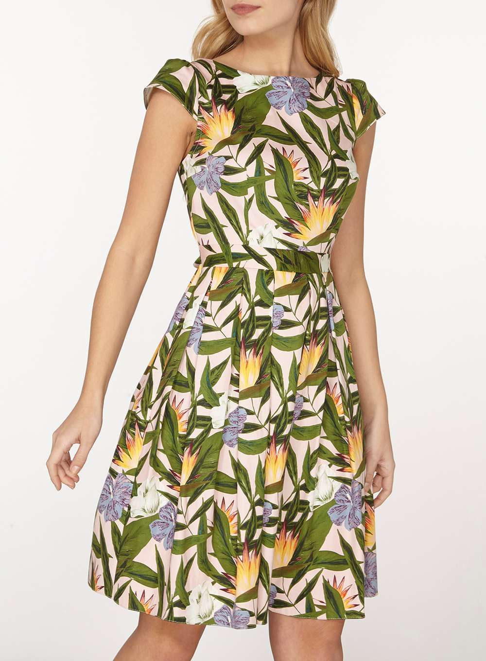 5a96d58a38 Tropical Print Cotton Fit & Flare Dress   Shopping   Fit flare dress ...