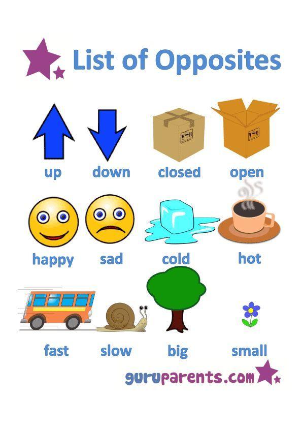 List Opposites for Preschoolers Printable Worksheets