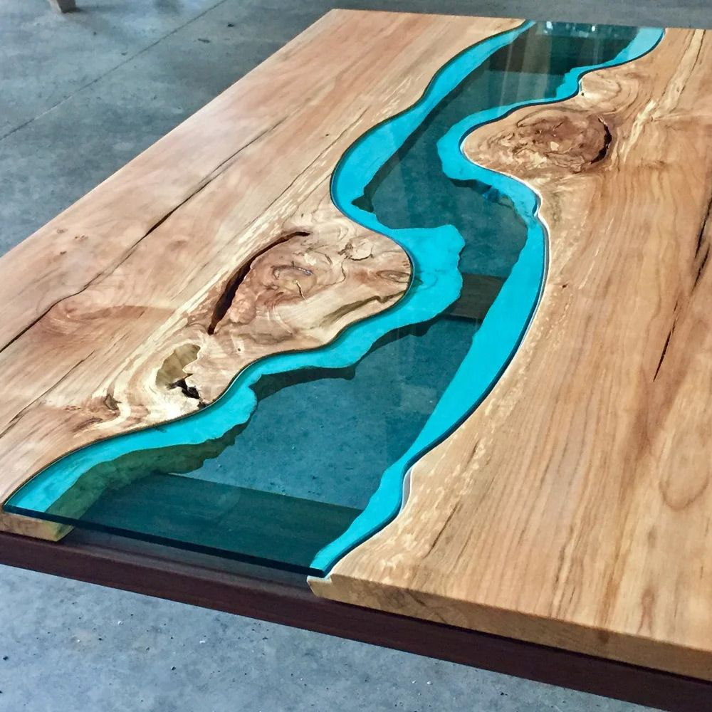 Holztisch Kunstharz Wood Tables And Wall Art Embedded With Glass Rivers And