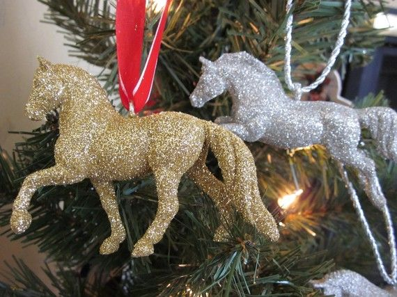 glittered horse christmas ornaments upcycled by silverponybarn - Horse Christmas Ornaments